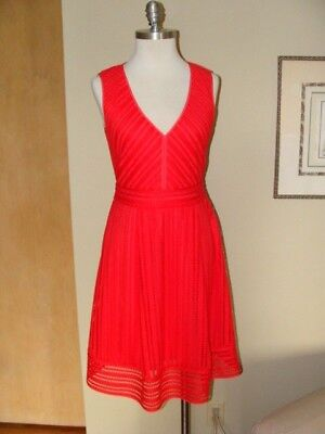 J Crew 4T Striped Eyelet Dress 4 Tall Red Melon Flame Small T4 Wedding Guest for sale  Milwaukee