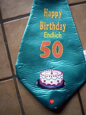 RIESEN - KRAWATTE in Lila Motiv - Happy Birthday - Endlich 50 + Torte / Neu (Grüne Riesen Kostüme)