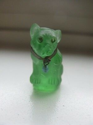 CZECH Glass Green Dog Cracker Jack Charm Prize