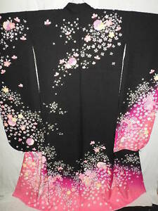 LARGE-Black-Silk-034-Furisode-034-w-Sakura-Yukiwa-Gold-Emb-B156