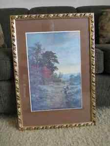 Picture of A House by a Lake in a gold frame