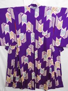 Antique-Purple-Silk-Japanese-KIMONO-w-Dyed-YABANE-B604