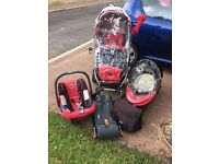 Britax Travel System in Red & Black.