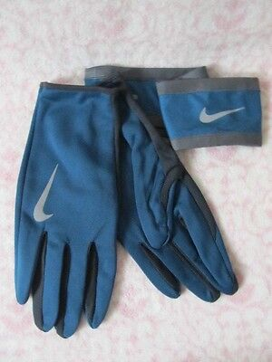 ab64b56c684 Nike Dri-Fit Men s Running Headband Glove Set Space Blue Anthracite Silver  L XL