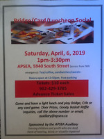 APSEA Auxiliary Bridge/Card/Luncheon Social, Saturday, April 6