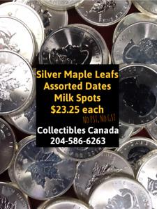 ROYAL CANADAIN MINT  SILVER MAPLE LEAF COINS 1 OZ SILVER S23.25