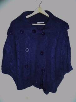 Women's Purple Knitted Button up Poncho