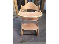 Light brown high chair, great from 6 months on