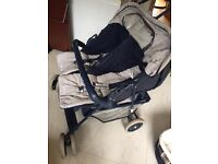 Gracco Double Buggy + baby equipment, inc. car seat, carry cot and bath/stand