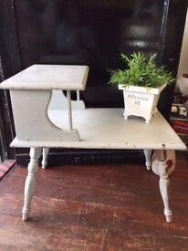 Quaint Retro *TELEPHONE SEAT* Table Hallway Priory Distressed Shabby Chic Grey