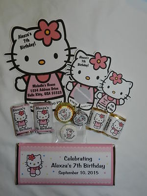 HELLO KITTY BIRTHDAY BABY SHOWER FAVOR TAGS, CANDY LABELS, INVITATIONS AND - Hello Kitty Baby Shower Invitations