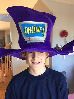 Costume Hat Website Launch Internet Geek Mouse Keyboard Top Hat Cartoon Purple
