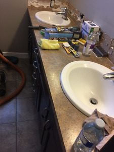 4 Matching counter tops with sinks and plumbing