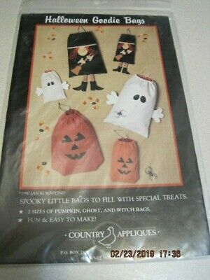 HALLOWEEN GOODIE BAGS SPOOKY Country Appliques 1990 Pumpkin, - Halloween Goodie Bags
