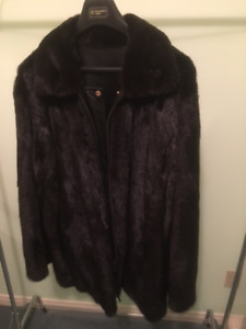 Mink Fur Coat with Mink Side and Leather on Other Side