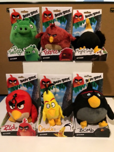 COMPLETE SET OF ANGRY BIRDS LARGE PLUSH KEY CHAINS