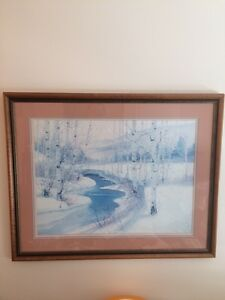 Framed, matted print