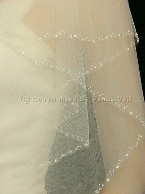 2T Ivory Bridal Wedding Elbow Length Beaded Edge