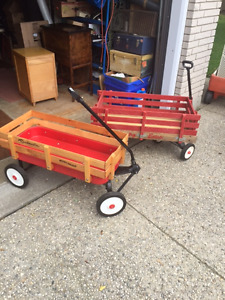 2 red wagons