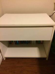 White One-Drawer Bedside Table