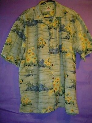 (JOE MARLIN HAWAIIN SHIRT GREEN WITH YELLOW FLOWERS/BLUE MOUTAINS MEN'S MEDIUM)