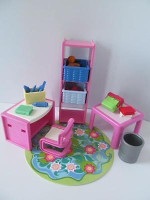 Playmobil Dollshouse bedroom/School furniture: Shelves, desk, books & toys NEW