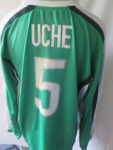Nigeria-Uche-5-World-Cup-Qualifier-Match-Worn-Football-Shirt-Size-XL-10041