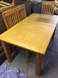 Dining Table with extension leaf & 6 Chairs, TV stand & 2 x side drawer units in solid oak from NEXT