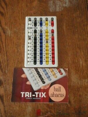 VINTAGE TRI-TIX BALL ABACUS STUDENT MODEL #900 W/BOOKLET MATH AID MEQUON WI USA