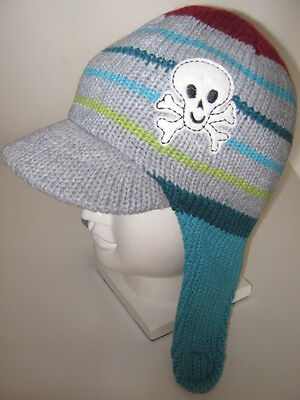 4 - 8 years Boys Skull Grey Red striped knitted Peaked Cap Ear Flaps Trapper Hat