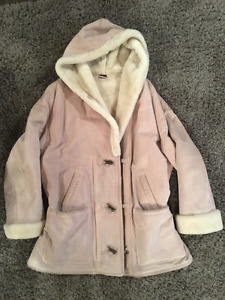 Beautiful pink genuine leather/suede winter coat