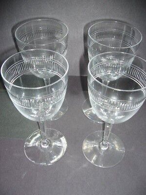 "4 VINTAGE ANTIQUE WINE GLASSES SET 7"" Tall Stemware Classic"