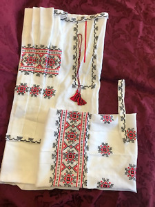 UKRAINIAN RED/BLACK CROSS STITCH LINEN BLOUSE PIECES