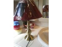 """lamp with new burgendy woven shade brass new in the wrapper 13"""" high"""