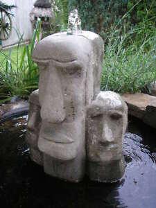 Maoi Skulptur Osterinsel drei Moai Köpfe - Brunnenstein - Rapa-Nui