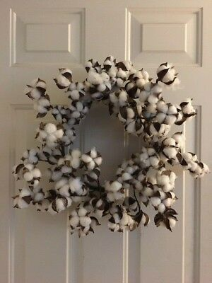 FAUX & NATURAL WHITE DRIED COTTON WREATH FARMHOUSE DECOR FLOWER FLORAL REAL POD  ()