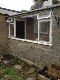 Wood window from porch of 70s bungalow demolition, approx 10ft x 4ft York area