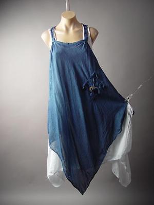 Lagenlook Italy Country Prairie Boho Handkerchief Peasant Pinafore 202 mv Dress](Peasant Dress)