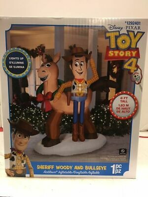 6' DISNEY PIXAR TOY STORY 4 WOODY & BULLSEYE Christmas Gemmy Airblown Inflatable