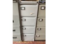 Silverline Grey Lockable Tall 4 Draw Metal Filing/Storage Cabinet H132cm With Key