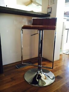 """2 New Condition """"Walnut and Chrome Stools"""""""