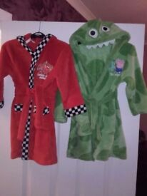 Immaculate, 2x 3-4 years dressing gowns. Green George pig with dinosaur hood & red Lightning McQueen
