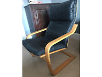 Armchair (Poang Ikea) beach and black leather