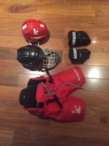 Hockey Equipment Bauer, Warrior-shorts, helmets, gloves
