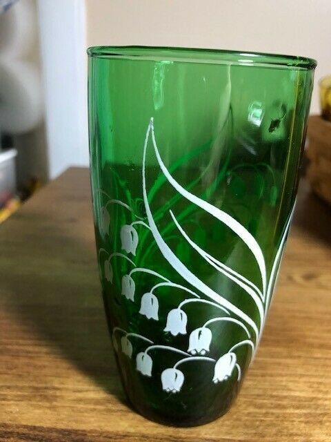 Vintage Anchor Hocking Forest Green Lily Of The Valley Drinking Glass