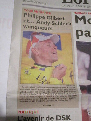 PHILIPPE GILBERT : MAILLOT JAUNE AU TOUR DE FRANCE - 03/07/2011