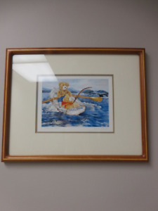 "FRAMED PRINT ""A WHALING TALE"" 1980 WENDY TOSOFF FOR CHILD'S ROOM"