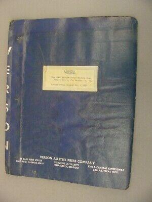 Verson Allsteel 1062 Double Gear Single Drive Press Maintenance Manual 1971