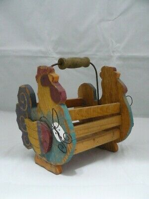 VINTAGE ROOSTER WOOD CRATE/BASKET-WOOD & METAL HANDLE-PAINTED ROOSTERS ON ENDS