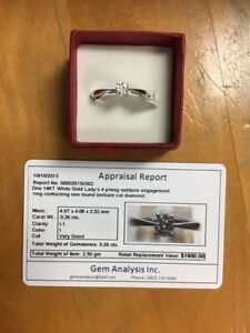 14k white gold .25 carat diamond Engagement Ring